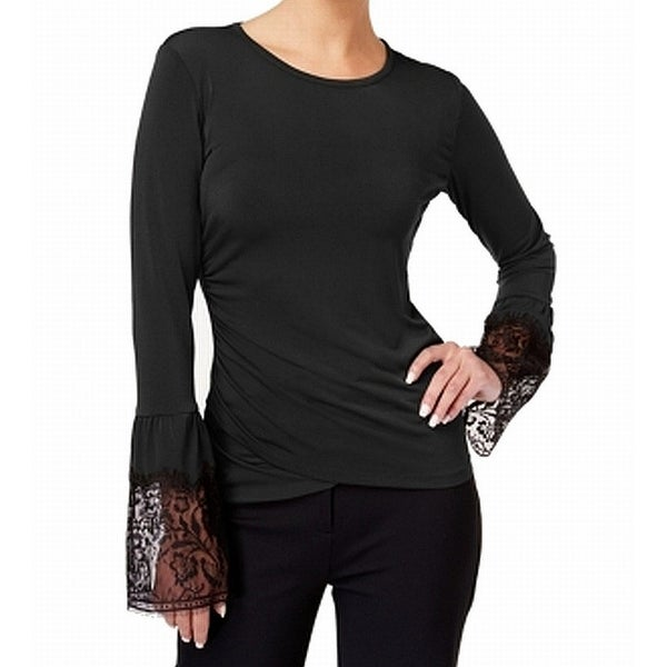 72e872fa9 Shop Kobi Black Womens Size Medium M Lace Trim Sleeve Ruched Blouse - On  Sale - Free Shipping On Orders Over $45 - Overstock - 27331064