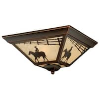 """Vaxcel Lighting T0109 Trail 3-Light Flush Mount Outdoor Ceiling Fixture with Cream Ranch Portrait Glass Shade - 14"""" Wide"""