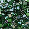 Miyuki 4mm Glass Cube Bead Mix Green Medley 10 Grams - Thumbnail 0