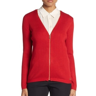 Calvin Klein Zippered V-Neck Long Sleeve Cardigan Sweater