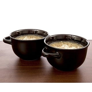 CrockPot Double Handle Ceramic Soup Bowls Savory Sip, Set Of 2, Black, 22 Ounces