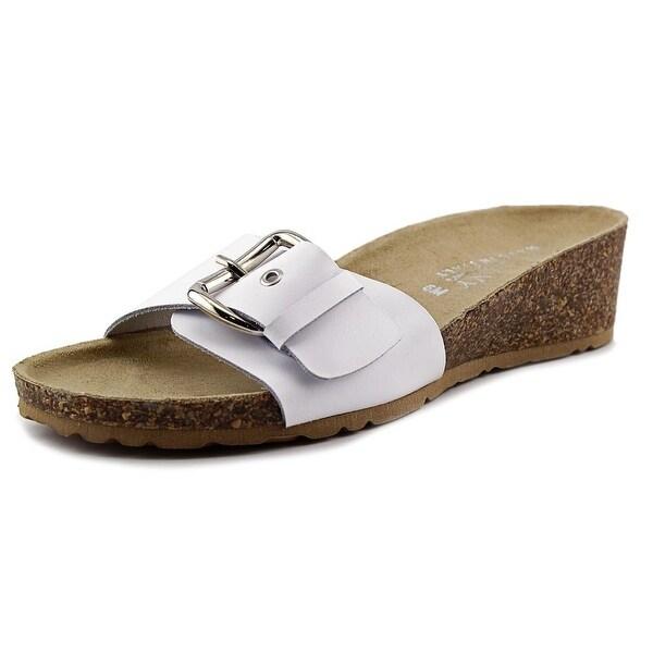 Easy Street Amico Women W Open Toe Leather White Slides Sandal