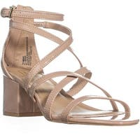 MG35 Minez1 Block Heel Strappy Sandals, Nude Patent