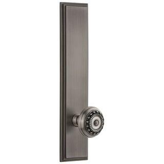 "Grandeur CARPAR_TP_PSG_234  Carre Solid Brass Tall Plate Rose Passage Door Knob Set with Parthenon Knob and 2-3/4"" Backset"