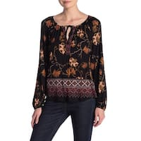 Susina Black Deep Womens Size Small S Floral Print Tie Neck Knit Top 613
