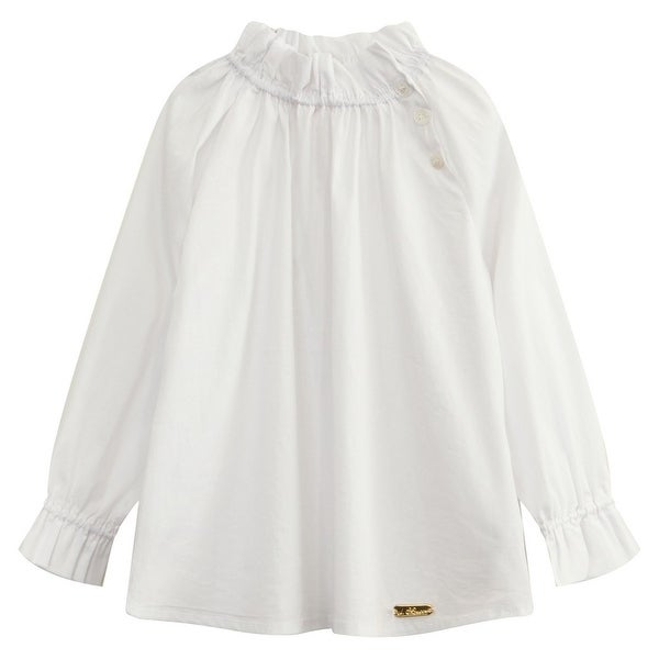 Richie House Baby Girls White Pleated Collar Long Sleeve Pullover Shirt 24M