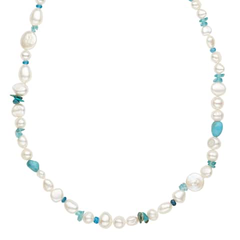 Freshwater Pearl & Turquoise Necklace in Sterling Silver
