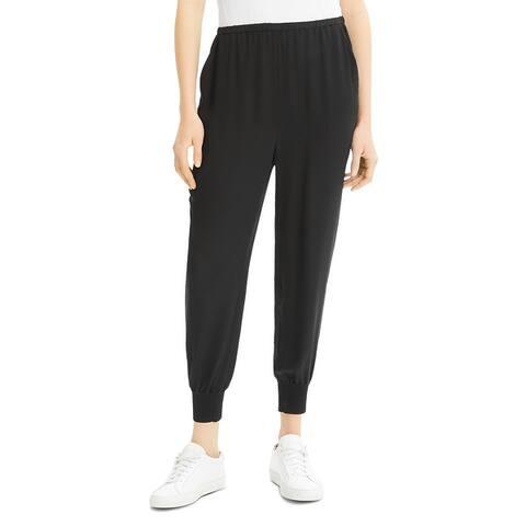 Theory Womens Jogger Pants Silk Ribbed Cuff - Black