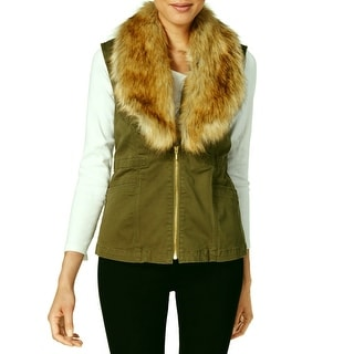Vintage America NEW Ivy Green Detachable Faux Fur Medium M Vest Jacket