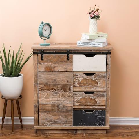 Rustic Sliding One Door Wood Cabinet