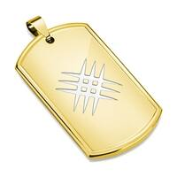 Laser Etched Crossed Scratch Gold IP Stainless Steel Dog Tag Pendant (30.5 mm Width)
