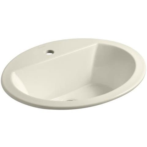 """Kohler K-2699-1 Bryant 17-3/8"""" Drop In Bathroom Sink with 1 Hole Drilled and Overflow"""