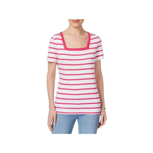 Karen Scott Womens Petites Pullover Top Striped Square Neck