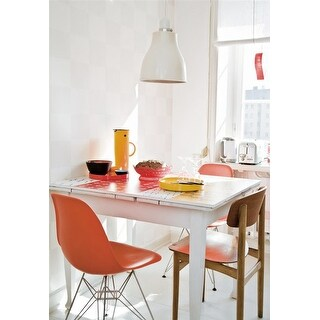 2xhome Orange - Eames Style Molded Bedroom & Dining Room Side Ray Chair with Eiffel Metal Leg Base