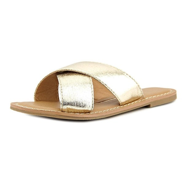 New Directions Trumpet Women Open Toe Synthetic Gold Slides Sandal