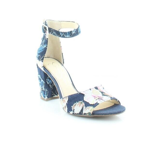 Jessica Simpson Sherron Women's Heels Flower Denim - 8