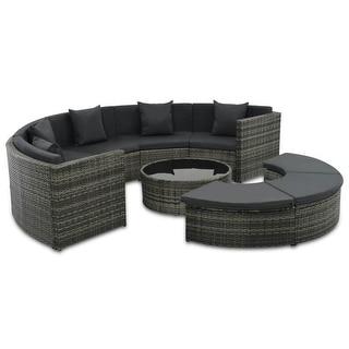 "vidaXL 8 Piece Garden Lounge Set with Cushions Poly Rattan Gray - 110.2"" x 57.1"" x 22.8"""