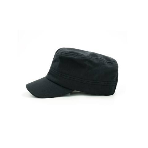 Unisex Adjustable Metal Buckle Flap Top Cadet Cap Blue