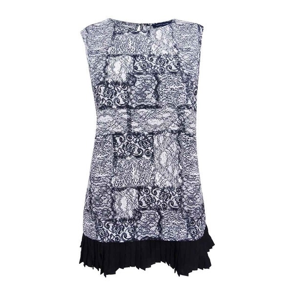 Shop Tommy Hilfiger Women S Lace Print Ruffle Hem Shell