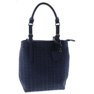 c99ce555cb19 Catherine Malandrino Womens Violet Tote Handbag Faux Leather Perforated -  Large