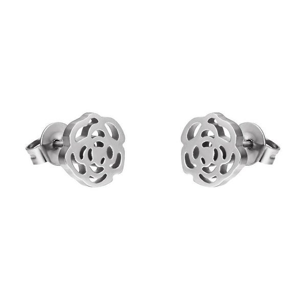 Rose Flower Earrings Stainless Steel Womens Studs Unique Gorgeous Design 8mm