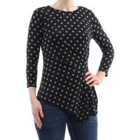 VINCE CAMUTO Womens Black Printed Long Sleeve Jewel Neck Hi-Lo Top  Size: S