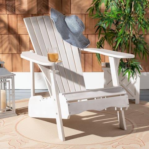Safavieh Outdoor Living Vista Antiqued White Acacia Wood Adirondack Chair
