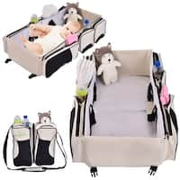 Costway 3 in 1 Portable Infant Baby Bassinet Diaper Bag Changing Station Nappy Travel - beige