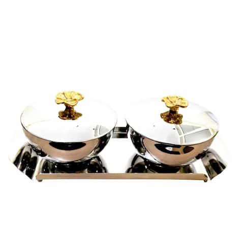 "INOX artisans Flower Bowl Set with Lids - TRAY 12"" X 5"" X 1"" BOWLS 5"" X 5"" X 4"""