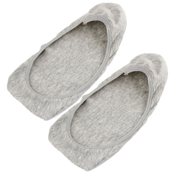 Unique Bargains Women Gray Elastic Cuff Ballet Footie No Show Boat Loafer Socks Pair