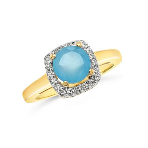 Yellow Gold-Plated Sterling Silver 1 1/8 Carat Genuine Green Chalcedony & White Zircon Square Frame Ring for Women (Size : 5)