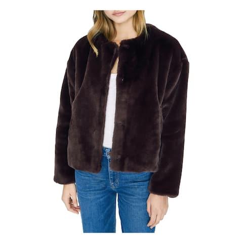 SANCTUARY Womens Purple Faux Fur Coat Size XS