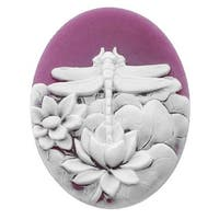 Lucite Oval Cameo - Purple With White Dragonfly And Flowers 40x30mm (1 Piece)