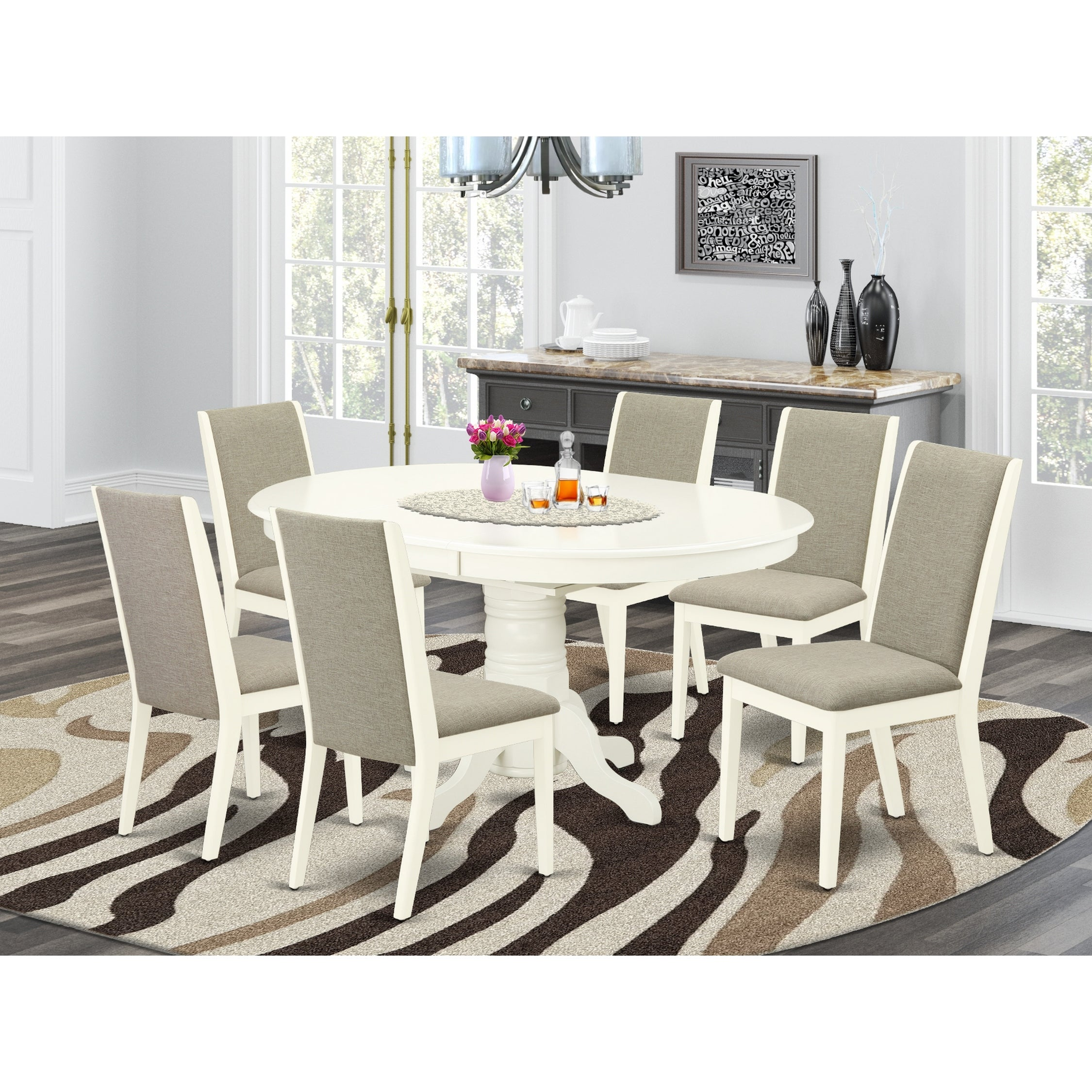 Picture of: Shop Avla7 Lwh 06 7 Piece Dining Set 6 Dining Chairs And Butterfly Leaf Table High Back Linen White Finish Overstock 32085538