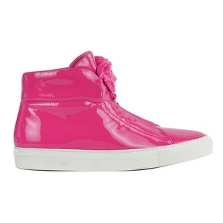 Versace Womens Pink Patent Leather High Top Sneakers