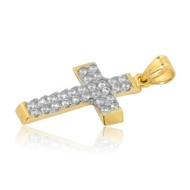 10K Gold Cross With CZ 27mm Tall