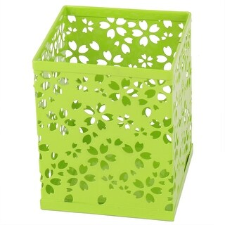 Unique BargainsDesktop Metal Square Flower Pattern Pen Storage Container Holder Light Green