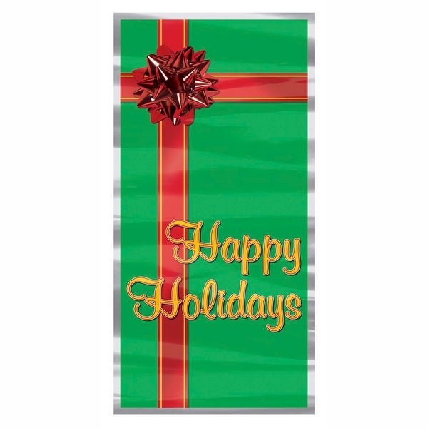 """Club Pack of 12 Winter Wonderland Themed """"Happy Holidays"""" Door Cover Party Decorations 5' - green"""