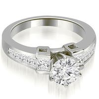 1.50 CT.TW Channel Set Diamond Princess and Round Cut Engagement Ring - White H-I