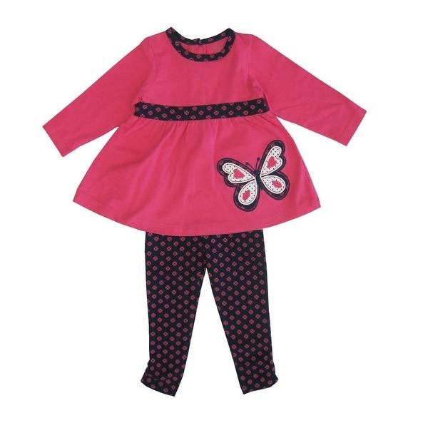 Little Me Baby Girls Fuchsia Butterfly Applique 2 Pc Legging Set 24M