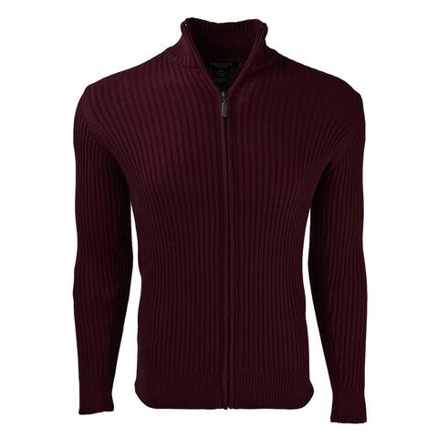 Full Zip Ribbed Mock Turtleneck 100% Cotton Cardigan For Men - Marquis