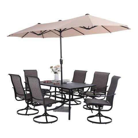 "PHI VILLA 7 Pcs Patio Dining Set with 13ft Patio Umbrella: 6 Swivel Dining Chair & 60""x 38"" Rectangle Metal Table"