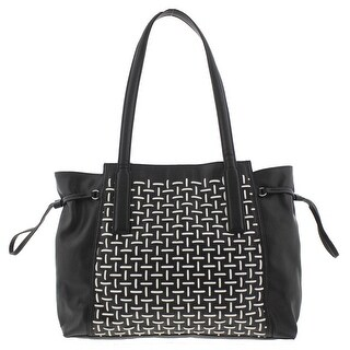 French Connection Womens Tote Handbag Woven Faux Leather - Large