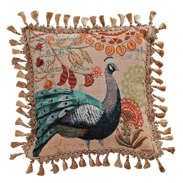 "Blue Tail Peacock Decorative Throw Pillow - 17"" X 17"""
