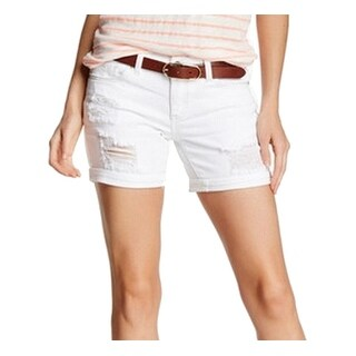Unionbay NEW Bright White Size 0 Junior Boy Fit Distressed Denim Shorts