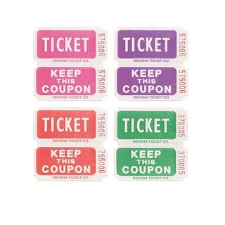 Everyday Ticket Roll - 50/50 - Pink Purple Red Green - 20 Count