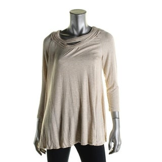 Studio M Womens Pullover Top Heathered Keyhole - xs