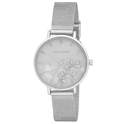 Laura Ashley Womens Engraved Floral Printed Mesh Strap Watch- 3 Colors Available