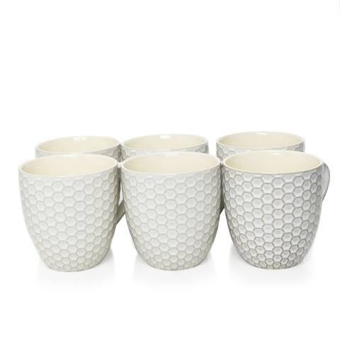 Elama Honeycomb 6 Piece 15 Ounce Mug Set in White