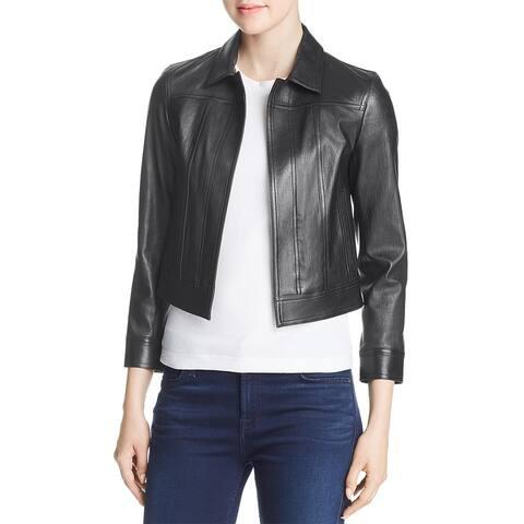 Theory Womens Shrunken Leather Jacket Lambskin Fall